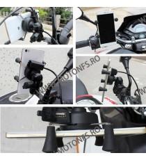 Iztoss Suport telefon gps moto cu incarcatoare rapide USB ficare pe Oglinda STGPS7486 STGPS7486  Suport telefon & GPS 75,00R...