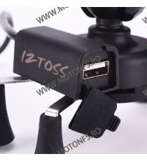 Iztoss Suport telefon gps moto cu incarcatoare rapide USB fixare pe ghidon STGPS6375 STGPS6375  Suport telefon & GPS 75,00RO...