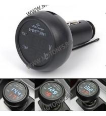 Incarcator Moto Auto 2,1A / Termometru Si Voltmetru Digital, 12-24 Volti Cod Tv7106 tv7106  USB Voltmetru Moto  56,00RON 56,...