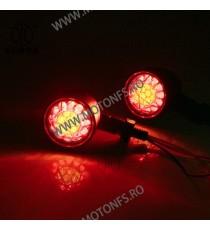 Set 2 Buc Semnale Semnalizatoare LED Cu Pozitie Rosu Moto Cafe Racer Bobber Chopper Retro HP-126 HP-126  Semnalizari Cafe Rac...