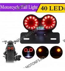 Stop cu leduri Si semnale integrate Suport Numar LED Moto Universal Cafe Racer Cromat Chooper Bobber Sti2038 Sti2038  Stop Un...