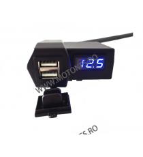 Incarcator USB Dublu , Si Voltmetru Moto LED Albastru Codvm2636 vm2636  USB Voltmetru Moto  75,00RON 75,00RON 63,03RON 63,...