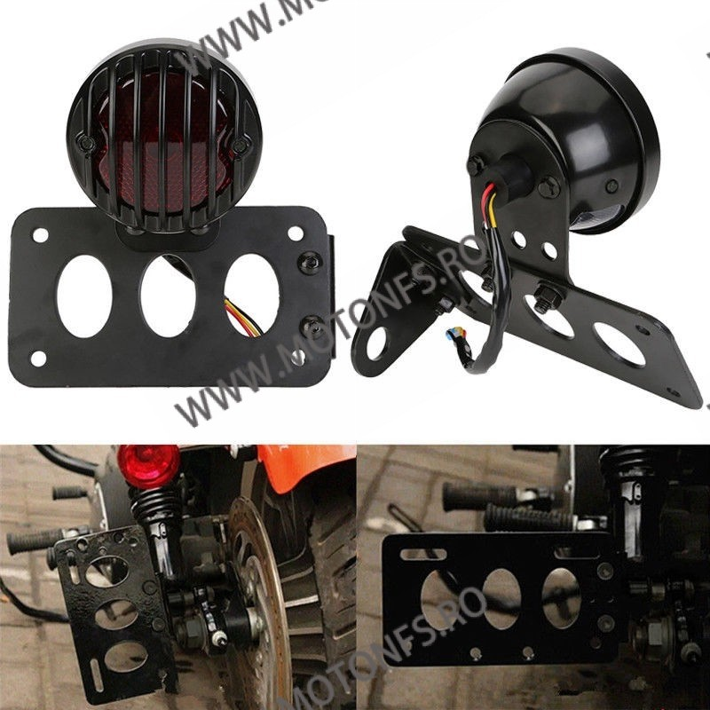 Suport numar inmatriculare moto lateral Stop Lateral Frana / Lampa /Universal Cafe Racer Cromat Chooper Bobber SL-001 SL-001 ...