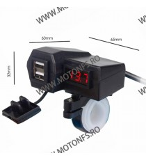 Incarcator USB Dublu , Si Voltmetru Moto LED Rosu NSLWB3 NSLWB3  Voltmetru / Prize Moto 65,00lei 65,00lei 54,62lei 54,62lei