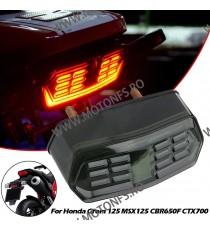 Stop cu leduri si semnale integrate Stop Frana / Lampa Spate  Moto Universal Cafe Racer Cromat Chooper Bobber UU2A0 UU2A0  St...