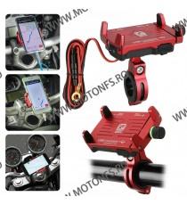 Suport telefon gps moto universal cu incarcatoare rapide USB fixare pe ghidon - Rosu TG60C TG60C  Suport telefon & GPS 99,00...