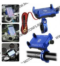 Suport telefon gps moto cu incarcatoare rapide USB fixare pe ghidon - Albastre AE1GS AE1GS  Suport telefon & GPS 99,00RON 99...
