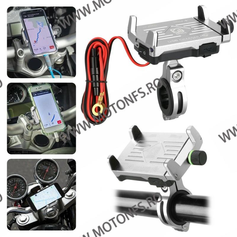 Suport telefon gps moto cu incarcatoare rapide USB fixare pe ghidon - Argintiu U2GOY U2GOY  Suport telefon & GPS 99,00RON 99...