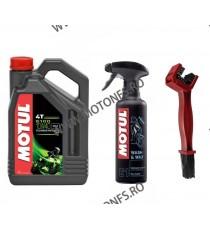 ULEI MOTUL 5100 10W40 SEMI SINTETIC 4L + MOTUL E1 WASH&WAX 400ML + Perie curatat lantul  XWQ6X XWQ6X  MOTUL 175,00RON 175,00...