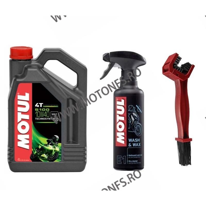 ULEI MOTUL 5100 10W40 SEMI SINTETIC 4L + MOTUL E1 WASH&WAX 400ML + Perie curatat lantul  XWQ6X XWQ6X  Ulei Motor 159,00RON 1...