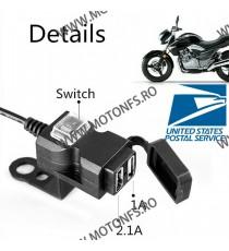 Double USB motocicleta mobil putere stropirii impermeabil orificiu pentru încărcător F9RKZ F9RKZ  Voltmetru / Prize Moto 70,0...