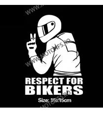 15cm x 15cm Respect For Bikers Autocolant / Sticker Moto / Auto Reflectorizante Stikere Carena Moto 7EWUS  autocolante Carena...