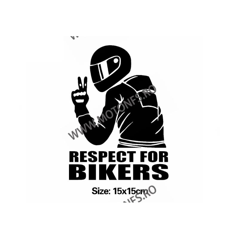 15cm x 15cm Respect For Bikers Autocolant / Sticker Moto / Auto Reflectorizante Stikere Carena Moto JHSD0  autocolante Carena...