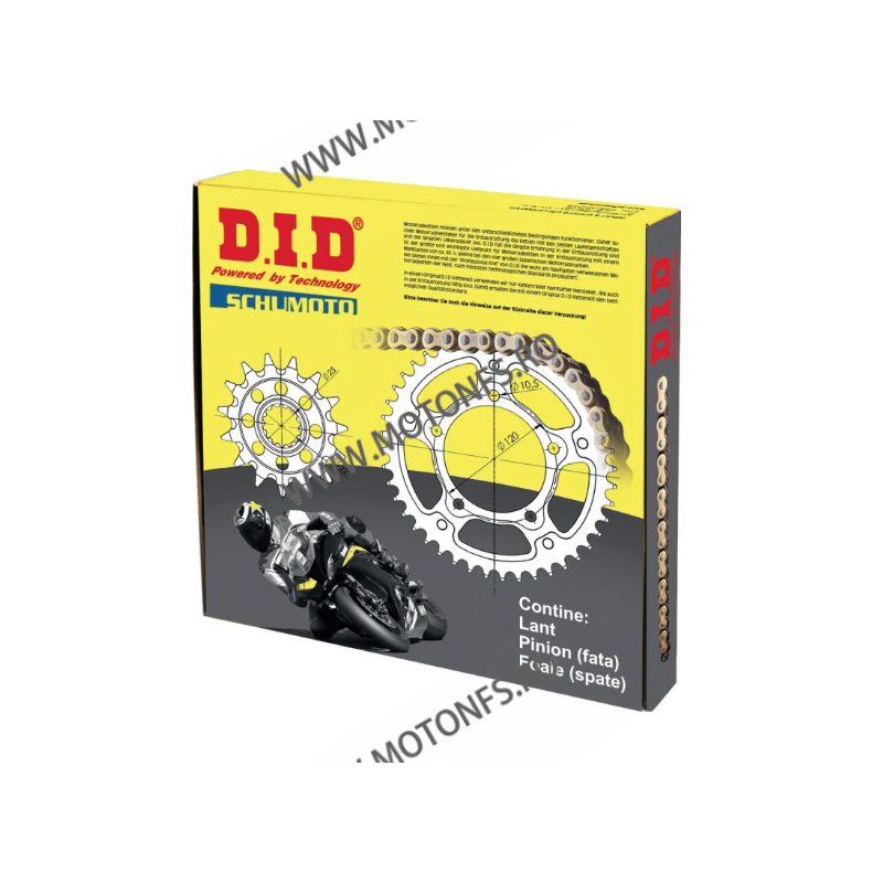 DID - kit lant Yamaha YZF-R6 2003-, pinioane 16/48, lant DID Racing 520ERV3-116 Gold X-Ring 122-914-80 DID RACING CHAIN Kit Y...