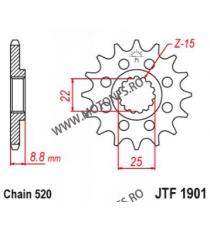 EMGO - Pinion (fata) JTF1901, 14 dinti - KTM EXC125/200/360 SX360/450F 105-411-14 EMGO Emgo Pinion 49,00lei 49,00lei 41,18...
