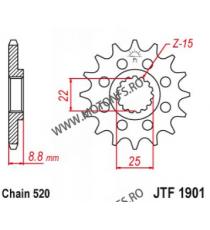 EMGO - Pinion (fata) JTF1901, 15 dinti - KTM EXC250/300/450 525XC/MXC 105-411-14 SPROCKETS Emgo Pinion 64,00lei 64,00lei 53...