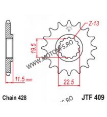EMGO - Pinion (fata) JTF409, 16 dinti - DR125 103-365-16 EMGO Emgo Pinion 49,00lei 49,00lei 41,18lei 41,18lei