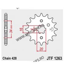 JT - Pinion (fata) JTF1263, 14 dinti - YBR125 2005- / SR125 1995 / XT125 2005- 102-329-14 JT Sprockets JT Sprockets Pinion 25...