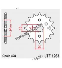 JT - Pinion (fata) JTF1263, 15 dinti - YBR125 2005-/SR125 1995 102-329-15 JT Sprockets JT Sprockets Pinion 25,00lei 25,00le...