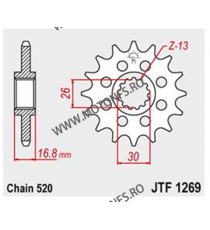 JT - Pinion (fata) JTF1269, 15 dinti - CBR600 1999- / 900 / 1000 Sport 520 100-461-15 JT Sprockets JT Sprockets Pinion 98,00...