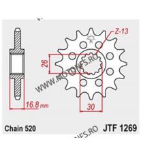 JT - Pinion (fata) JTF1269, 16 dinti - CBR600 1999- /900/1000 Sport 520 100-461-16 JT Sprockets JT Sprockets Pinion 93,00lei...