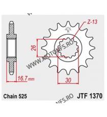 JT - Pinion (fata) JTF1370RB (garnitura cauciuc), 15 dinti - CBR600 1999/900RR 1996- Sonderzz. 101-564-15-2 JT Sprockets JT S...