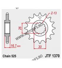 JT - Pinion (fata) JTF1370RB (garnitura cauciuc), 16 dinti - CBR900RR 1996-/600 1999-/ VTR1000F 101-564-16-2 JT Sprockets JT ...