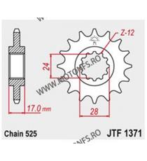 JT - Pinion (fata) JTF1371RB (garnitura cauciuc), 15 dinti - CBR600 1997-1998/CBF600/Hornet600 101-551-15-2 JT Sprockets JT S...