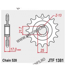 JT - Pinion (fata) JTF1381RB (garnitura cauciuc), 15 dinti - CB500F/X 2013- / CBR500R 2013- 101-460-15-2 JT Sprockets JT Spro...