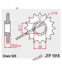 JT - Pinion (fata) JTF1515, 15 dinti - ZX-6R-19 97/TriumphTT600 1999- 104-561-15 JT Sprockets JT Sprockets Pinion 88,00lei 8...