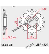 JT - Pinion (fata) JTF1529, 17 dinti - GPZ1100 1995-/ZRX1100/1200 2001- 104-651-17 JT Sprockets JT Sprockets Pinion 98,00lei...