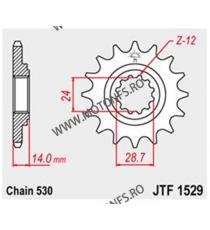 JT - Pinion (fata) JTF1529RB (garnitura cauciuc), 17 dinti - GPZ1100 1995-/ZRX1100/1200 2001- 104-651-17-2 JT Sprockets JT Sp...