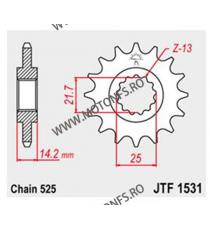 JT - Pinion (fata) JTF1531, 15 dinti - Zephyr 750 1995-1998 104-567-15 JT Sprockets JT Sprockets Pinion 93,00lei 93,00lei 7...