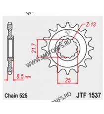 JT - Pinion (fata) JTF1537, 16 dinti - ZX-9R 2002-/Z1000 2003-2006 102-551-16 JT Sprockets JT Sprockets Pinion 64,00lei 64,0...