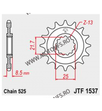 JT - Pinion (fata) JTF1537RB (garnitura cauciuc), 15 dinti - FZR400/Z1000 2007- 102-551-15-2 JT Sprockets JT Sprockets Pinion...