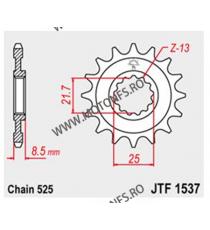JT - Pinion (fata) JTF1537RB (garnitura cauciuc), 17 dinti - ZX-10R 2004- 102-551-17-2 JT Sprockets JT Sprockets Pinion 68,00...