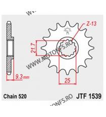 JT - Pinion (fata) JTF1539, 14 dinti - EX250R Ninja 2008- / Z300 2015- 104-469-14 JT Sprockets JT Sprockets Pinion 73,00lei ...
