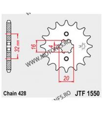 JT - Pinion (fata) JTF1550, 14 dinti - YZF125R 2008-/ WR125R/X 2009- 102-332-14 JT Sprockets JT Sprockets Pinion 25,00lei 25...