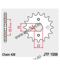 JT - Pinion (fata) JTF1559, 14 dinti - TW125 1999-/ TW200 1989- 102-331-14 JT Sprockets JT Sprockets Pinion 34,00lei 34,00l...