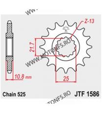 JT - Pinion (fata) JTF1586RB (garnitura cauciuc), 17 dinti - TDM8501996-1998/TRX850 102-565-17-2 JT Sprockets JT Sprockets Pi...