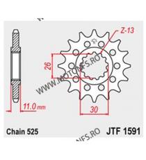 JT - Pinion (fata) JTF1591, 16 dinti - TDM900/MT-07/MT-09/FZ8 102-567-16 JT Sprockets JT Sprockets Pinion 68,00lei 68,00lei...