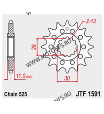 JT - Pinion (fata) JTF1591RB (garnitura cauciuc), 16 dinti - TDM900/MT-07/MT-09/FZ8 102-567-16-2 JT Sprockets JT Sprockets Pi...