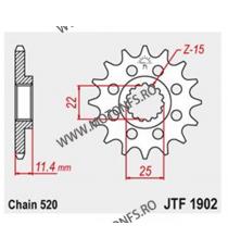 JT - Pinion (fata) JTF1902RB (garnitura cauciuc), 16 dinti - KTM 620EGSE/LSE 625SXC 640LC4 105-412-16-2 JT Sprockets JT Sproc...