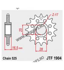 JT - Pinion (fata) JTF1904RB (garnitura cauciuc), 16 dinti - KTM Advent.950 LC8/990 105-501-16-2 JT Sprockets JT Sprockets Pi...