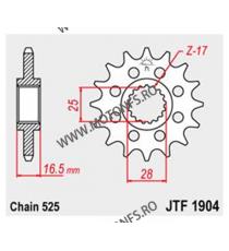 JT - Pinion (fata) JTF1904RB (garnitura cauciuc), 17 dinti - KTM Advent.950 LC8/990/1190 105-501-17-2 JT Sprockets JT Sprocke...