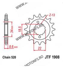 JT - Pinion (fata) JTF1908, 14 dinti - KTM Duke 390 2013- 105-431-14 JT Sprockets JT Sprockets Pinion 59,00lei 59,00lei 49,...