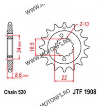 JT - Pinion (fata) JTF1908RB (garnitura cauciuc), 15 dinti - KTM Duke 390 2013- 105-431-15-2 JT Sprockets JT Sprockets Pinion...