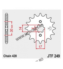 JT - Pinion (fata) JTF249, 13 dinti - KLX 110 2010- 101-249-13 JT Sprockets JT Sprockets Pinion 25,00lei 25,00lei 21,01lei...