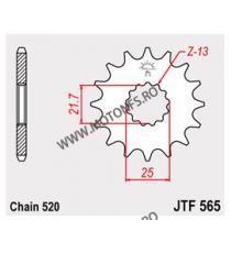 JT - Pinion (fata) JTF565RB (garnitura cauciuc), 15 dinti - Versys650/GS500E 2-Zyl/YZ&WR 102-461-15-2 JT Sprockets JT Sprocke...