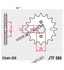 JT - Pinion (fata) JTF569, 12 dinti - KLX250/KX250-1998/KX500-2005 105-427-12 JT Sprockets JT Sprockets Pinion 39,00lei 39,0...